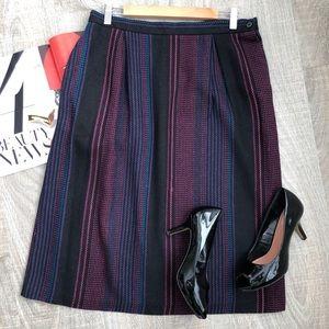 Vintage wool black & pink striped midi skirt 16